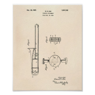 Trombone Attachment 1927 Patent Art Old Peper Poster
