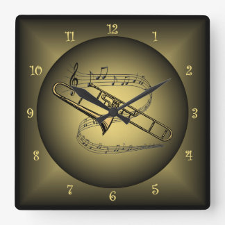 Trombone ~ Musical Instrument ~ Musical Globes ~ Square Wall Clock