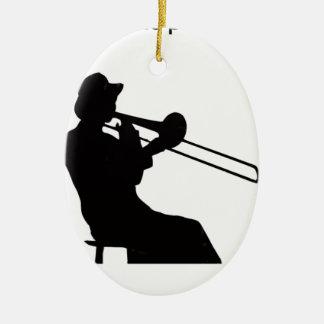 Trombone player in da house ceramic ornament