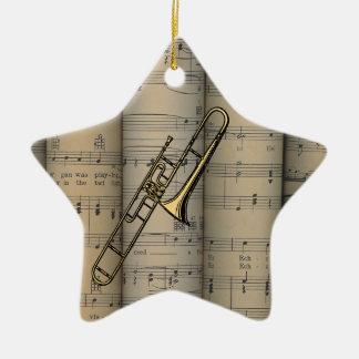 Trombone ~ Rolled Sheet Music Background ~ Musical Ceramic Ornament