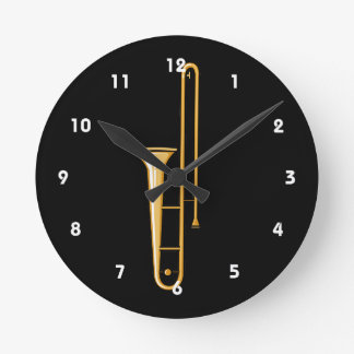 trombone upright graphic round clock
