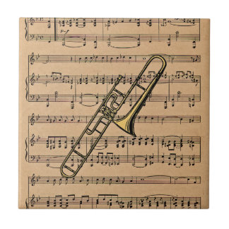 Trombone With Sheet Music Background Ceramic Tile
