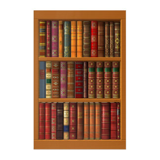 Trompe l'oeil of a library of classical books acrylic wall art