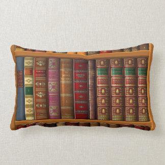 Trompe l'oeil of a library of classical books lumbar cushion