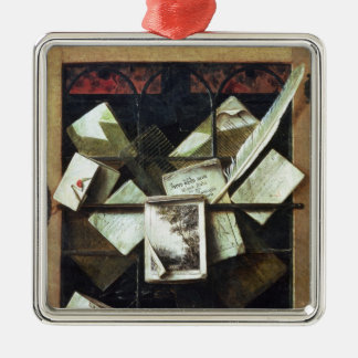 Trompe l'oeil with letters and notebooks, 1665 metal ornament