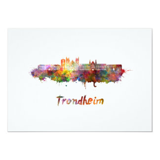 Trondheim skyline in watercolor card