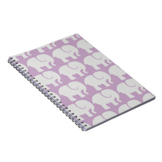 Troop Of Elephants (Elephant Pattern) - Purple Spiral Notebook