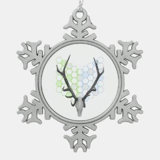 Trophy Deer antlers geometric pattern Snowflake Pewter Christmas Ornament