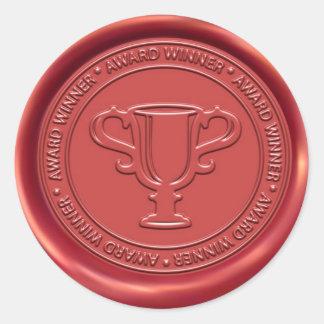 Trophy Sign Wax Seal Round Sticker