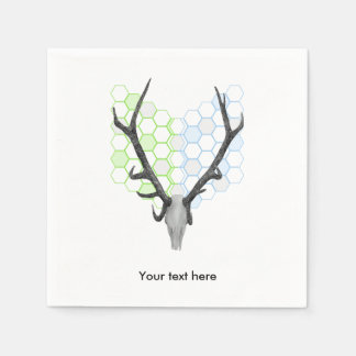Trophy stag antlers geometric pattern disposable serviettes