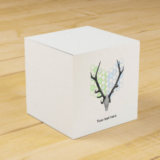 Trophy stag antlers geometric pattern favour box