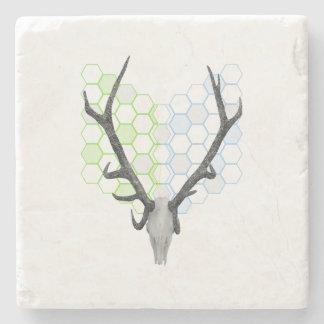 Trophy stag antlers geometric pattern stone beverage coaster