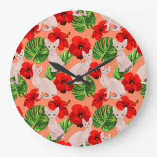 Tropic Sphynx Cat Vector Seamless Pattern Large Clock