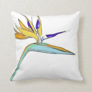 Tropical Accent Floral Bird-of-Paradise Cushion