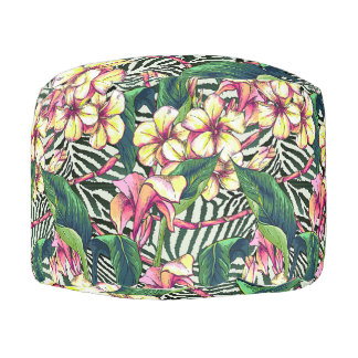 Tropical Accent Hawaiian Bold Plumeria Floral Pouf