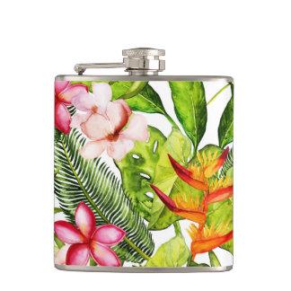 Tropical Aloha  Exotic Jungle Flowers Hip Flask