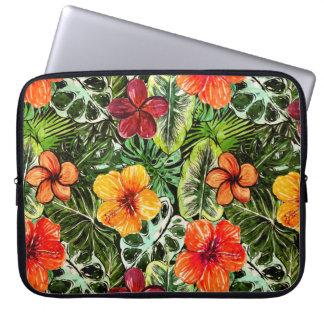 Tropical Aloha  Exotic Jungle Flowers Laptop Sleeve
