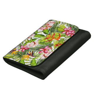 Tropical Aloha  Exotic Jungle Flowers Leather Wallet