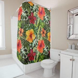 Tropical Aloha  Exotic Jungle Flowers Shower Curtain