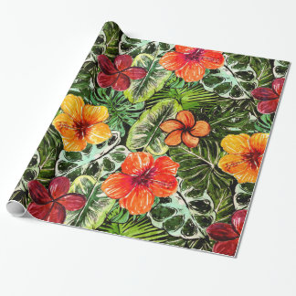 Tropical Aloha  Exotic Jungle Flowers Wrapping Paper