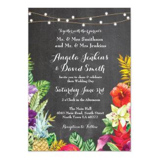Tropical Aloha Wedding Floral Chalk Lights Invite