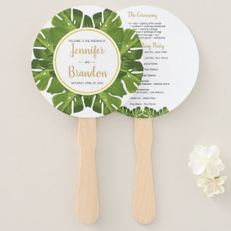 Tropical and gold round wedding program fan
