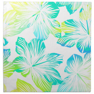 Tropical aqua flowers napkin