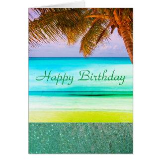 Tropical Aqua Island Birthday Greeting Card