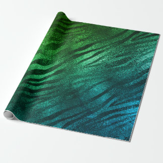 Tropical Aquatic Glass Metallic Zebra Animal Skin Wrapping Paper