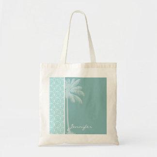 Tropical Baby Blue Circles Canvas Bag