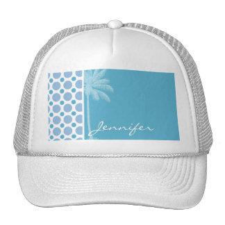 Tropical Baby Blue Polka Dots Mesh Hat
