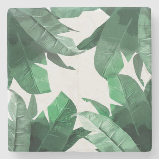 Tropical Banana Leaf Print Marble Stone Coaster