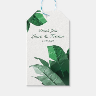 Tropical Banana Leaf Wedding Thank You Tags