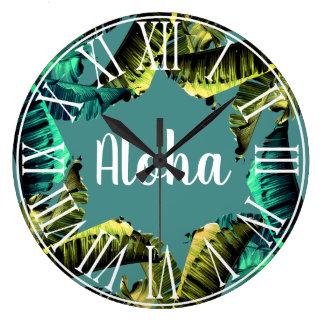 Tropical Banana Leaves Aloha Large Clock