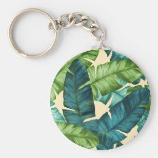 Tropical Banana Leaves Original Pattern Basic Round Button Key Ring