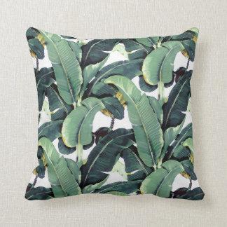 Tropical Banana Leaves Palm Throw Pillow