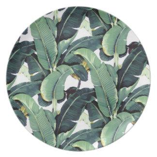Tropical Banana Leaves Palm Tree Melamine Plate