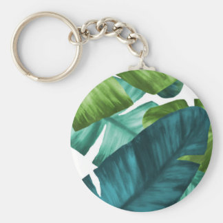 Tropical Banana Leaves Unique Pattern Key Ring