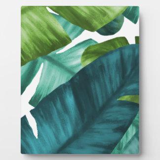 Tropical Banana Leaves Unique Pattern Plaque