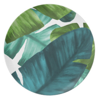 Tropical Banana Leaves Unique Pattern Plate