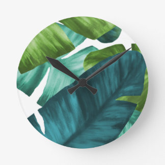 Tropical Banana Leaves Unique Pattern Round Clock