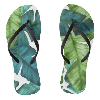 Tropical Banana Leaves Unique Pattern Thongs