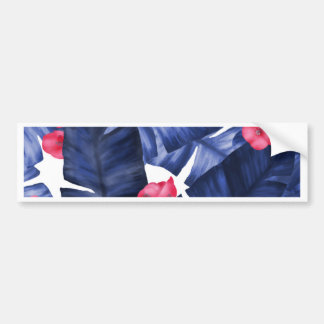 Tropical Banana Leaves With Flower Pattern Bumper Sticker