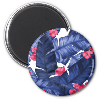 Tropical Banana Leaves With Flower Pattern Magnet
