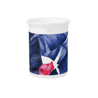 Tropical Banana Leaves With Flower Pattern Pitcher