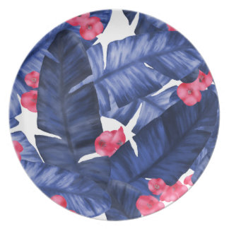 Tropical Banana Leaves With Flower Pattern Plate