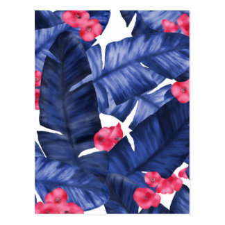 Tropical Banana Leaves With Flower Pattern Postcard