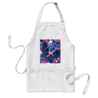 Tropical Banana Leaves With Flower Pattern Standard Apron