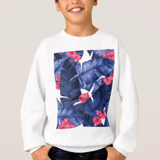 Tropical Banana Leaves With Flower Pattern Sweatshirt