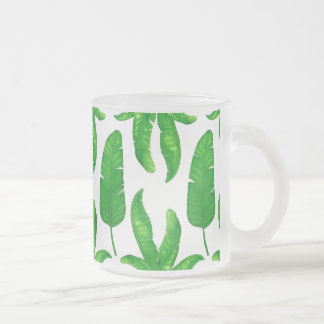 Tropical Banana Palm Leaves Frosted Glass Mug